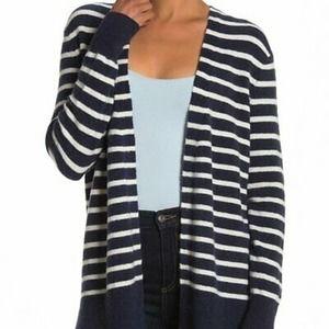Madewell Walker Blue Striped Wool Blend Cardigan